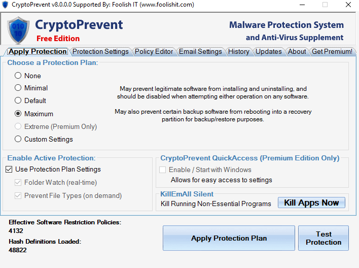 CryptoPrevent Malware Prevention