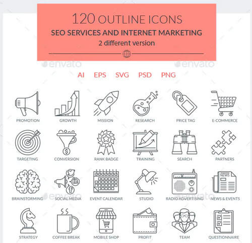 SEO Services and Internet Marketing Icons